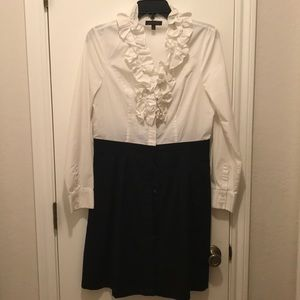 Size 8 black and white cotton button down dress